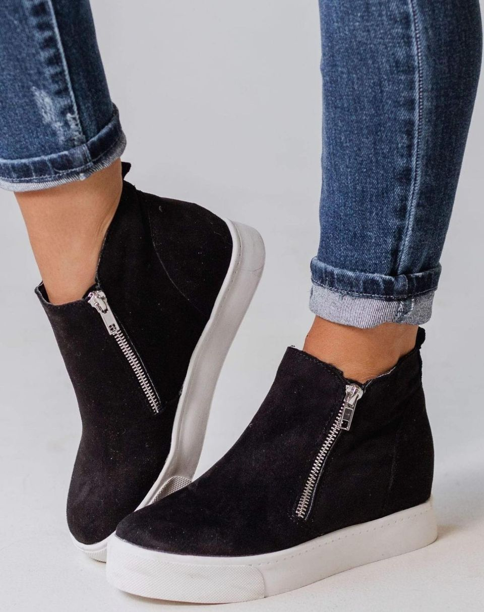 Black Wedge Sneaker Bootie