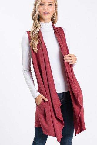 Burgundy Lightweight French Terry Waterfall Cardigan Vest
