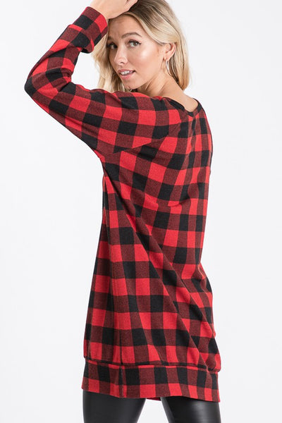 Red & Black Plaid Sweater Tunic