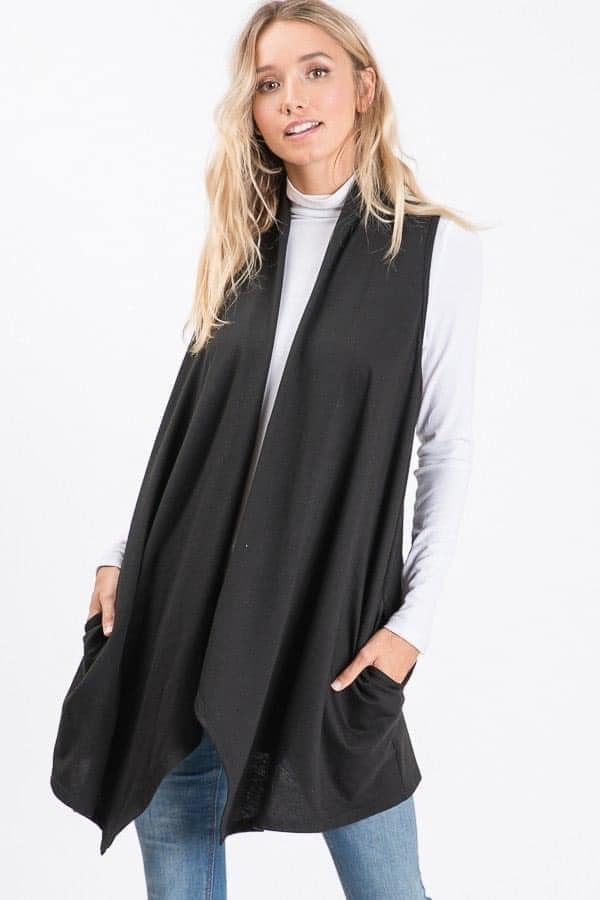 Black Lightweight French Terry Waterfall Cardigan Vest