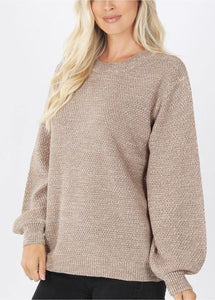 Mocha Solid Knit Balloon Sleeve Sweater