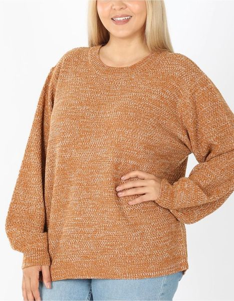 Camel Solid Knit Balloon Sleeve Sweater