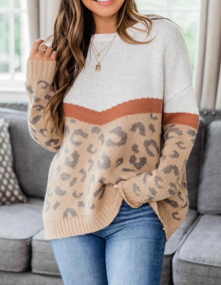 Rust Cream Leopard Color Block Sweater