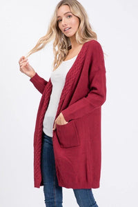 Burgundy Cable Knit Cozy Sweater Cardigan