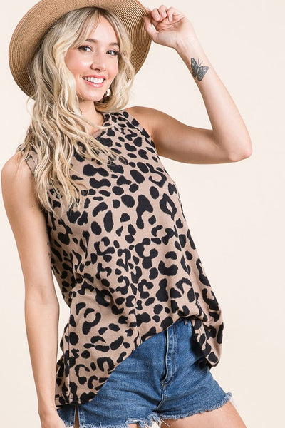 Taupe Leopard Tank Top