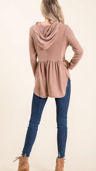 Taupe Hooded Peplum Sweater Top