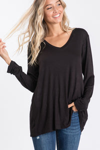 Black V Neck Solid Tunic