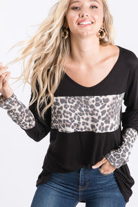 Black & Leopard Color Block Long Sleeve Tunic