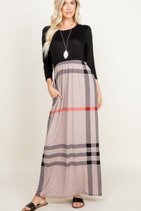 Black & Mocha Plaid Maxi Dress