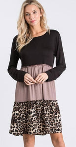 Mocha Leopard Ruffle Tiered Babydoll Dress