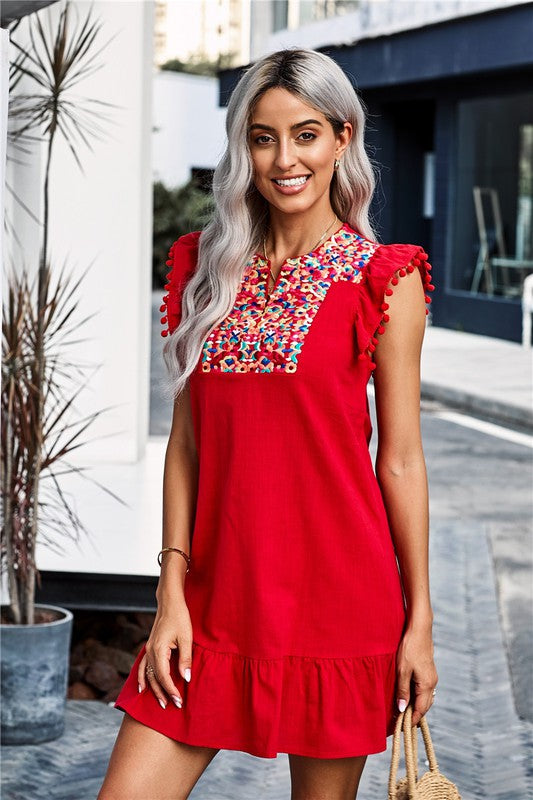 Red Boho Pompom Sleeve Shift Dress