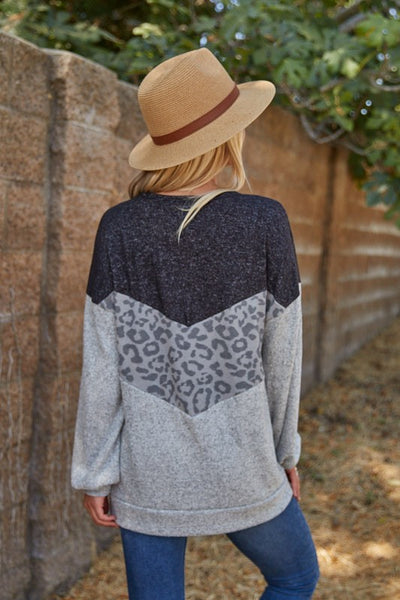 Grey & Leopard Color Block Tunic