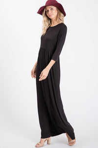 Black Solid Maxi Dress