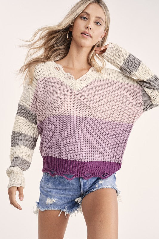 Blush Distressed Color Block Sweater