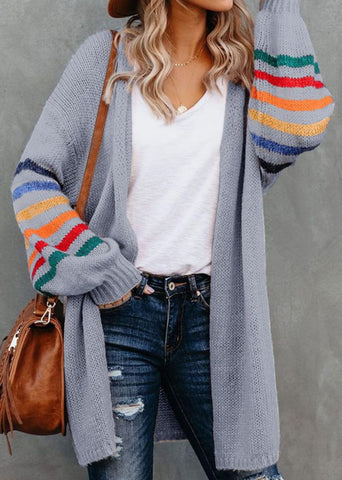 Grey Balloon Sleeve Multi Stripe Sweater Cardigan