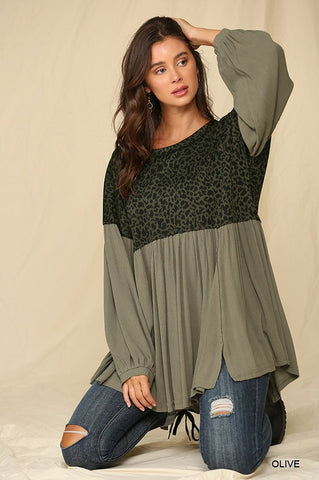 Olive & Leopard Bell Balloon Sleeve Top