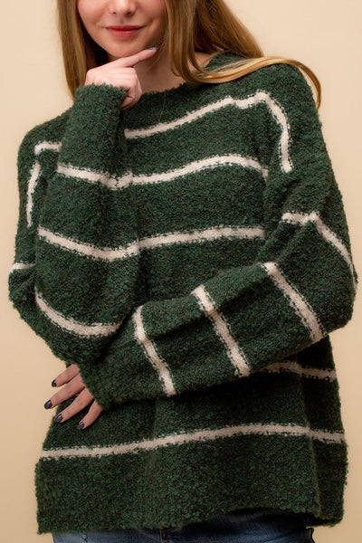 Olive Fuzzy Knit Stripe Sweater