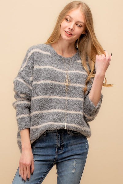 Grey Fuzzy Knit Stripe Sweater