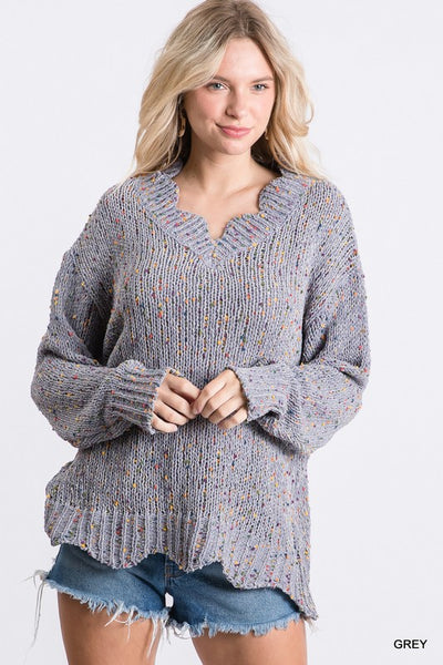 Grey Scalloped Hem Confetti Sweater