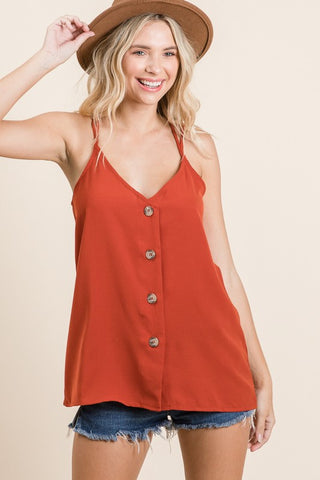 Rust Button Down V Neck Tank