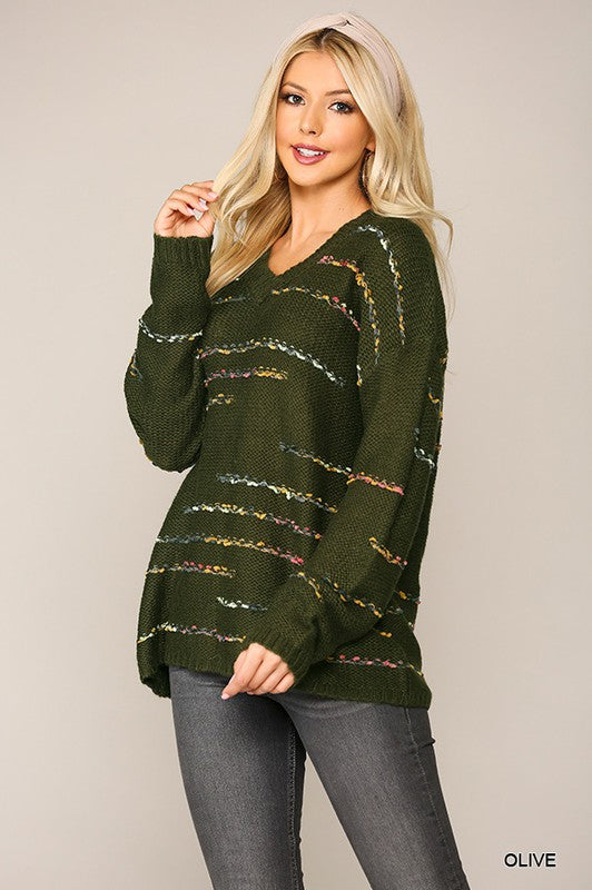 Olive Multi Textured Stripe Sweater