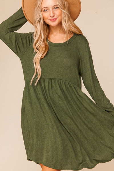 Olive Two Tone Long Sleeve Baby Doll Dress