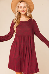 Burgundy Two Tone Long Sleeve Baby Doll Dress