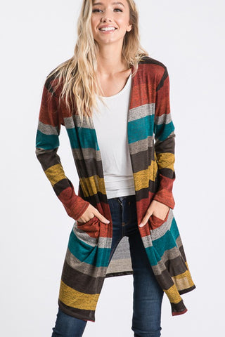 Rust Multi Color Block Cardigan