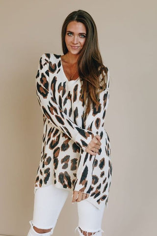 Classic Animal Print Knit Oversized Sweater