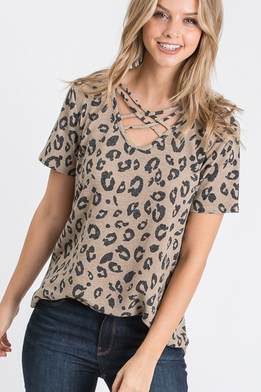 Taupe Leopard Crisscross V Neck Tunic