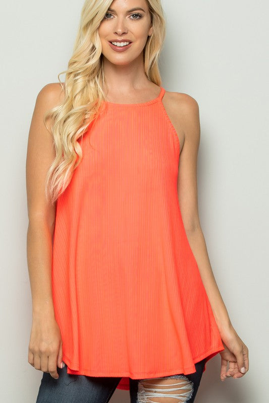 Coral Solid Ribbed Knit Tank