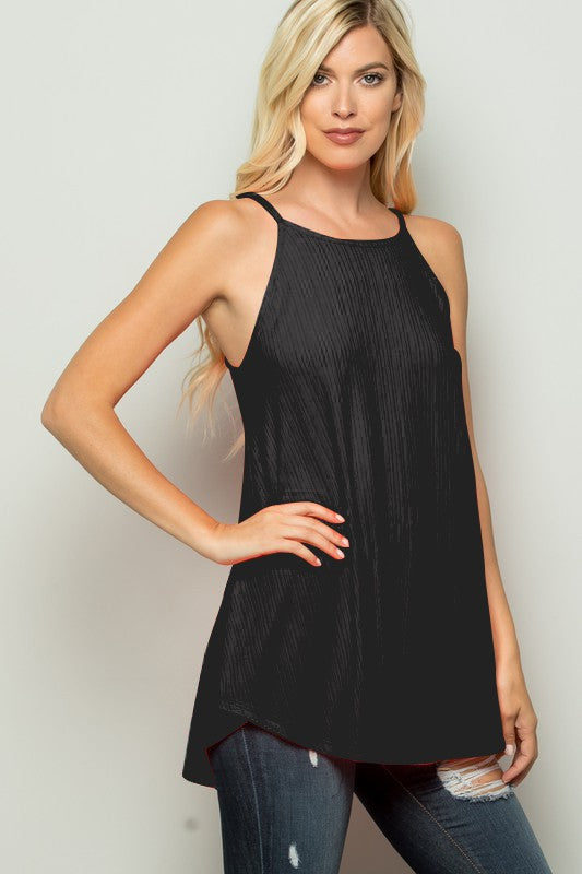 Black Solid Ribbed Knit Tank