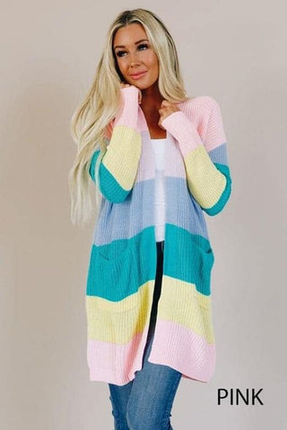 Pastel Color Block Multi Cardigan