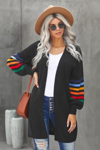 Black Multi Stripe Balloon Sleeve Knit Cardigan