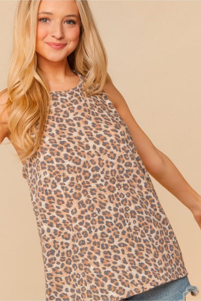 Leopard Print Twisted Racerback Tank Top