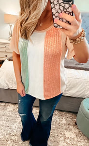 Peach Coral Mint Knit Color Block Top