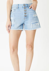 KanCan Stella Button Down Mom Shorts