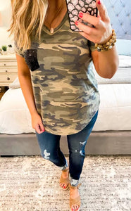 Camo Sequin Pocket French Terry Tee