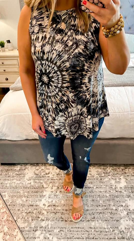Black Geo Mix Print Sleeveless Tank