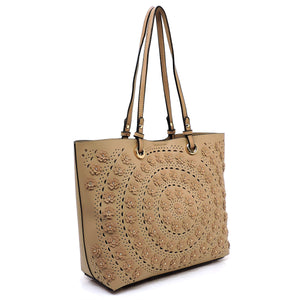 Taupe Laser Cut Flower 2 in 1 Shopper