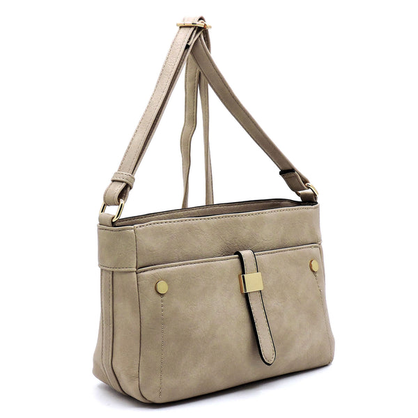 Light Stone Front Pocket Crossbody Bag