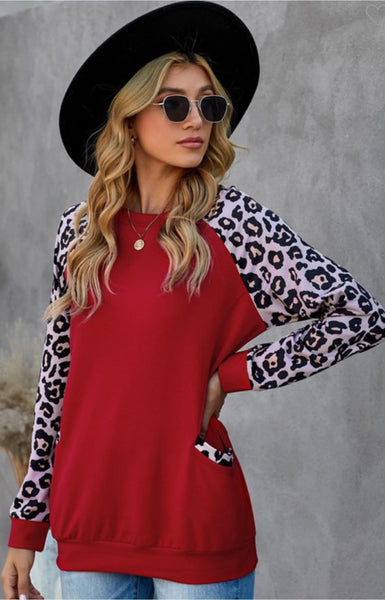 Red Leopard Sleeve Pocket Tunic