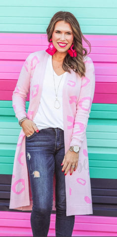 Pink Leopard Sweater Cardigan