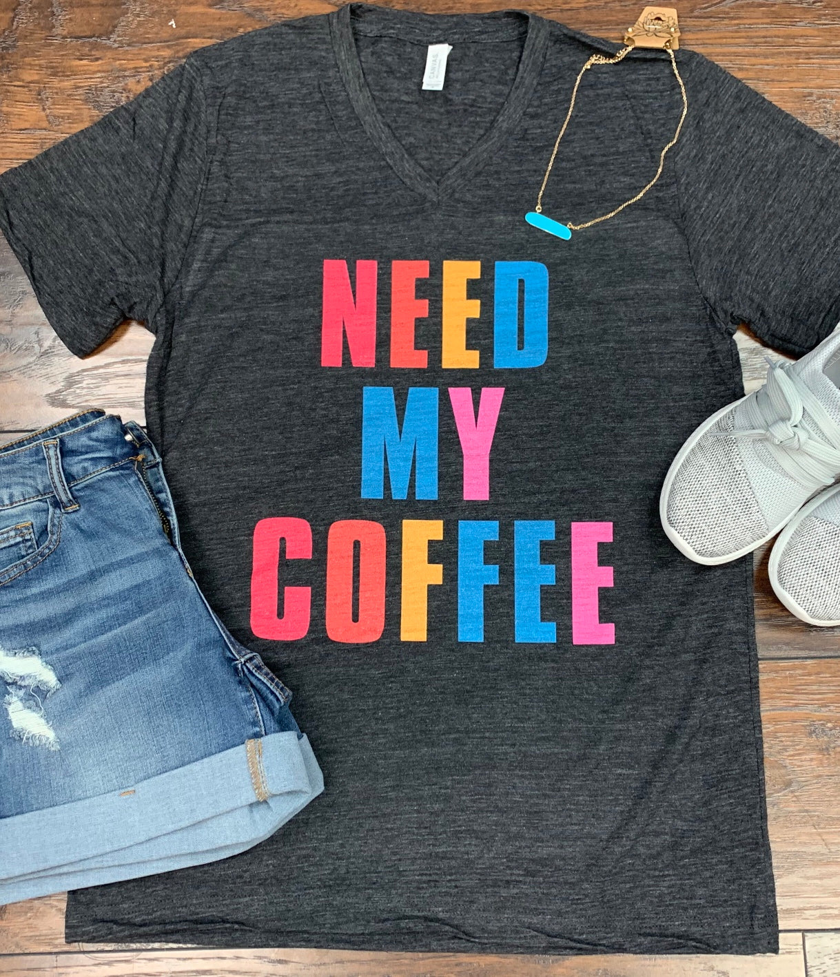 Charcoal Need My Coffee V-Neck Tee