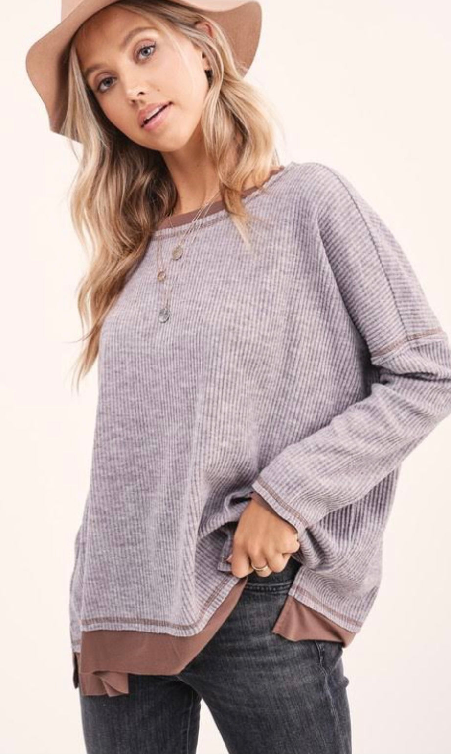 Mocha Ribbed Knit Two Tone Top