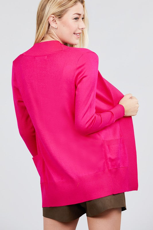 Open Front Cardigan Hot Pink