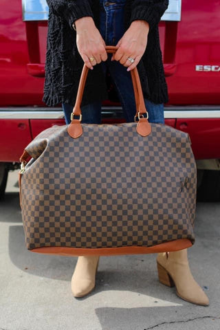 Brown Alexander Checkered Weekender Duffle Bag