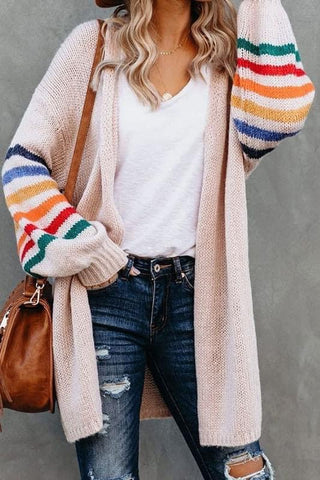 Blush Balloon Sleeve Multi Stripe Sweater Cardigan