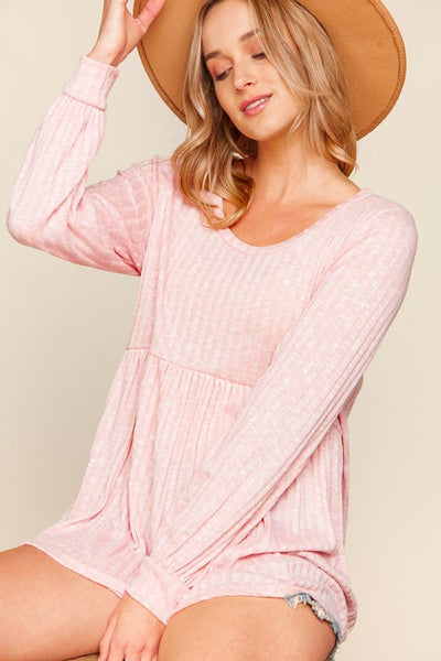 Rose Two Tone Rib Baby Doll Bubble Sleeve Tunic
