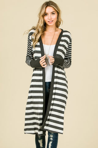 Charcoal Stripe Longer Cardigan